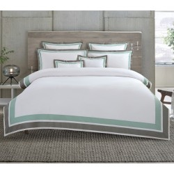 elise: Egyptian Cotton Double Border - Green Grey